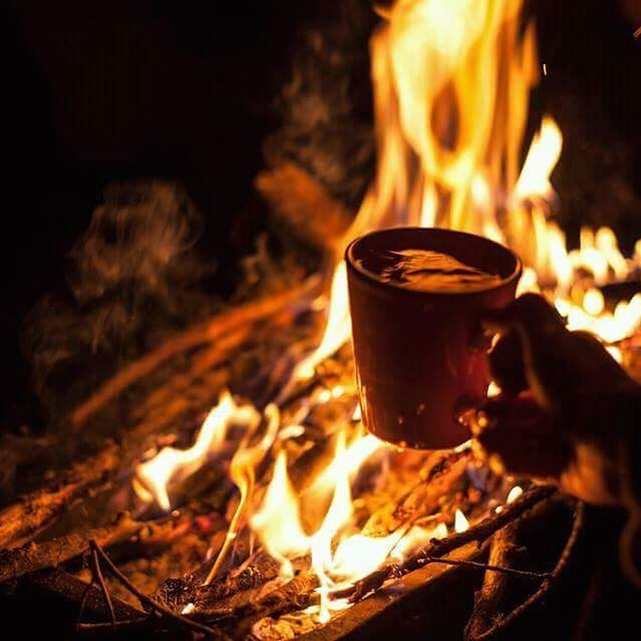 Fire - Natural Phenomenon Flame Heat - Temperature Burning Drink Roasted Food And Drink Smoke - Physical Structure No People Food Refreshment Bonfire Close-up Freshness Night Nature Outdoors