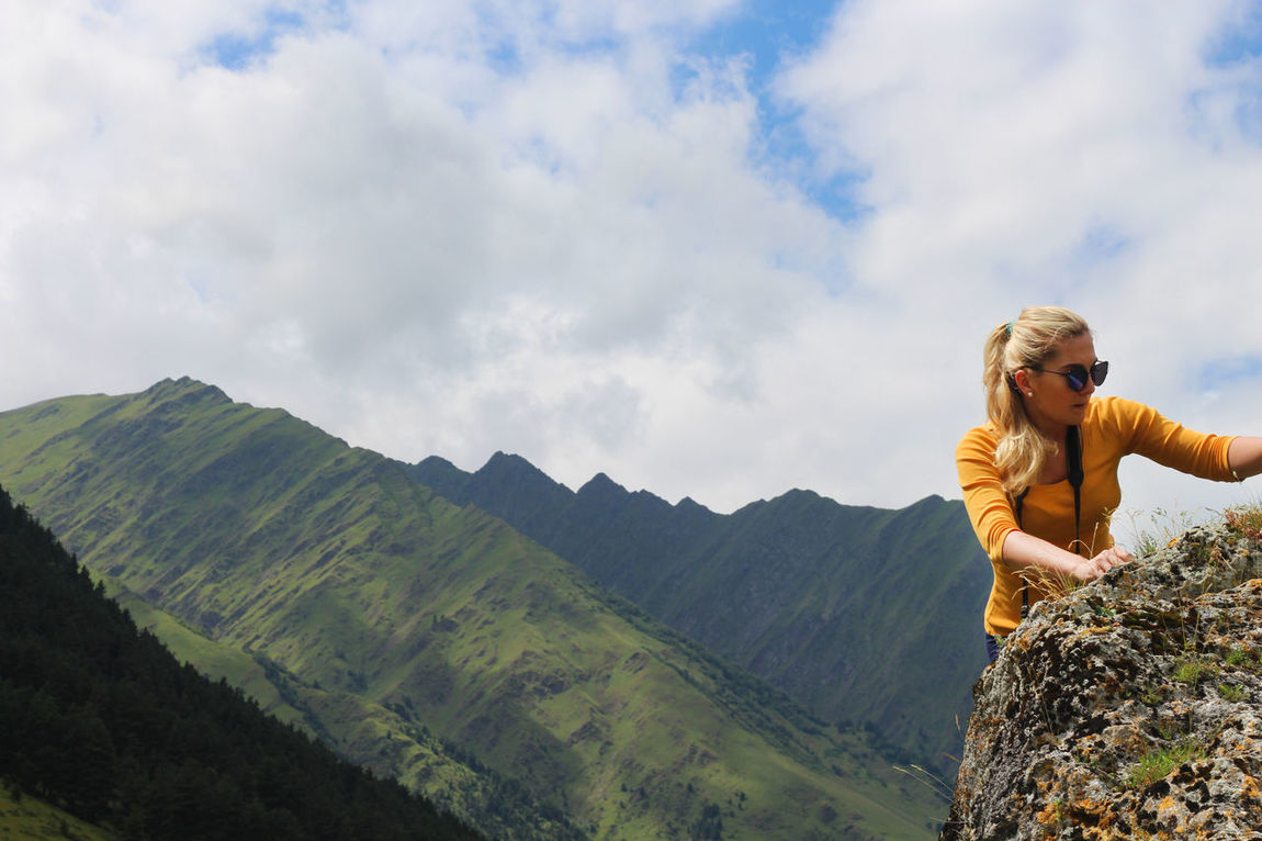 Blond Hair Bouldering Casual Clothing Climb Climbing Cloud - Sky Extreme Sports Georgia Mountain Nature One Person One Young Woman Only Outdoors Sky Travel Destinations Women