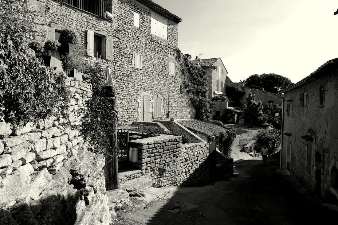 Architecture Black & White Black And White Blackandwhite Blackandwhite Photography Building Exterior Built Structure Eye4photography  EyeEm Best Shots EyeEm Gallery EyeEmBestPics France From My Point Of View Goult History Luberon Monochrome Monochrome Photography Old Town Old Village Old Village France Provence Stone Material Stone Wall The Week On EyeEm