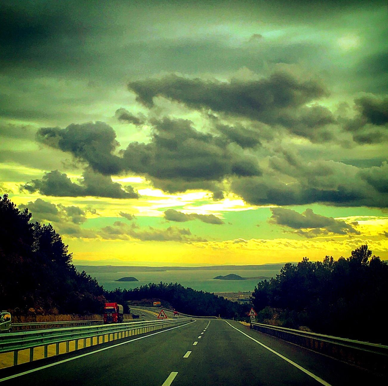 On The Road Ontheroad Sea Road Cloud - Sky Cold Sunset Tree Trees No People Beauty In Nature