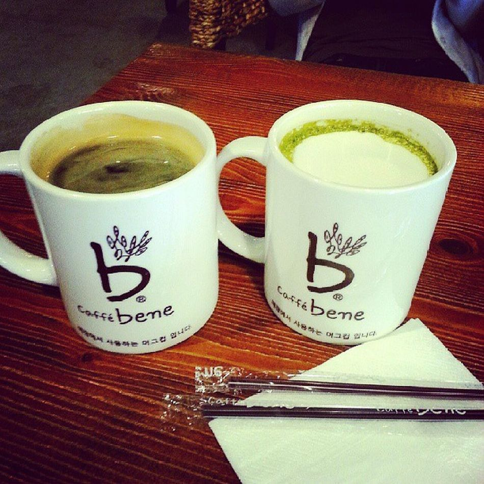 Caffebene Americano Latte Greentealatte coffee Monday Korean Beijing lunch date friend wangjing