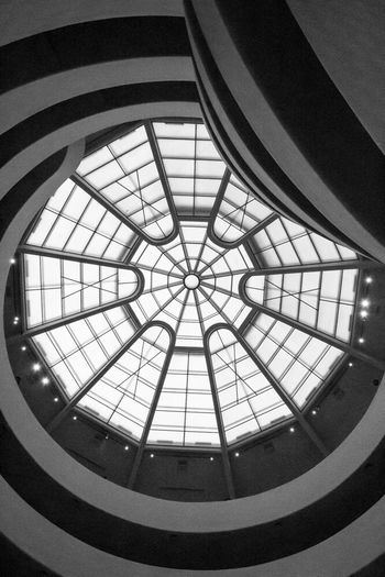 Guggenheim Nyc Architecture Directly Below Low Angle View Skylight Ceiling Transparent Geometric Shape Architectural Feature Modern Architectural Design Staircase Staircase Vertigo Black And White NYC Museum NYC Photography Monochrome Photography The Secret Spaces