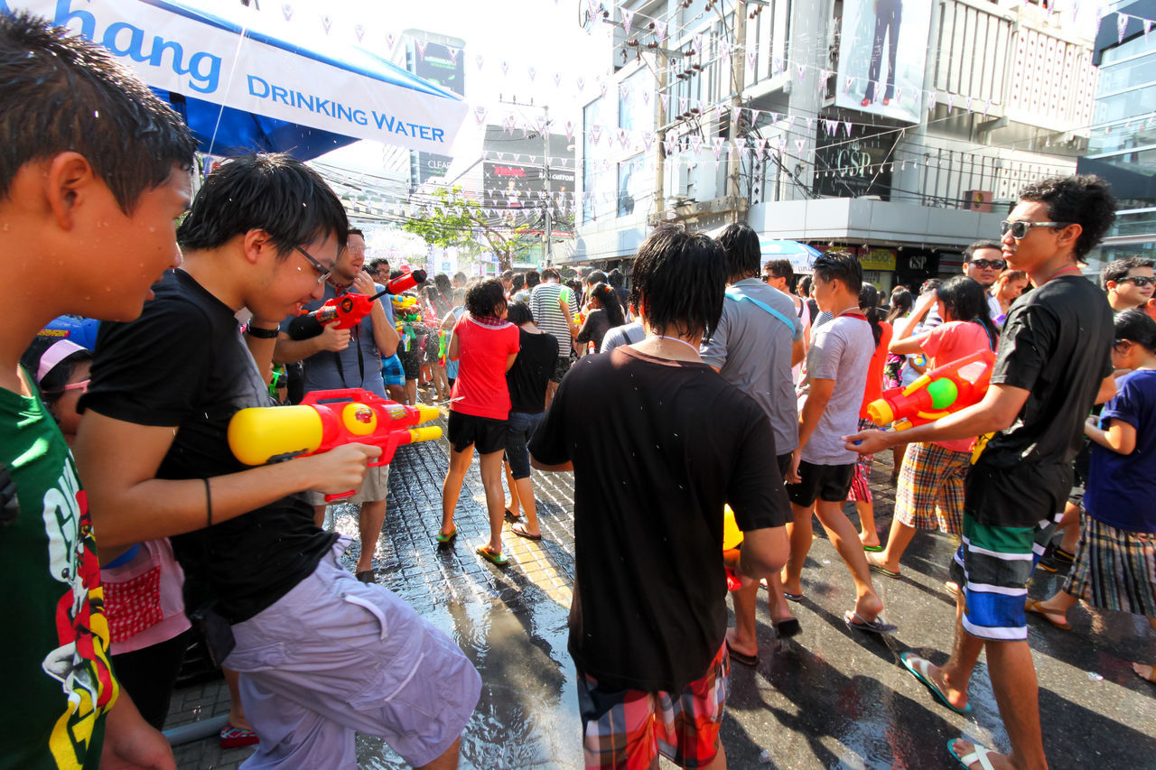 Songkran water fight in Siam Square, Bangkok Adult Celebration City Crowd Day Eye4photography  EyeEm Best Shots Festival Fun Large Group Of People Law Men Occupation Outdoors Party People Songkran Water Fight Wet Women