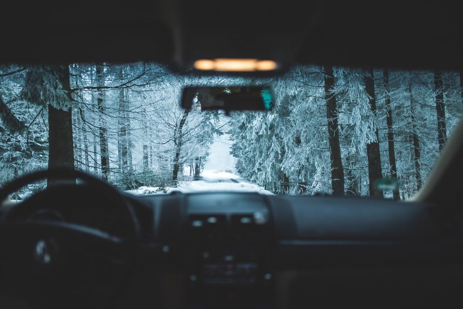 Transportation Land Vehicle Mode Of Transport Car Winter Windshield Vehicle Interior Cold Temperature Car Interior Snow Weather Dashboard No People Close-up Tree Illuminated Day Nature Vehicle Mirror Outdoors