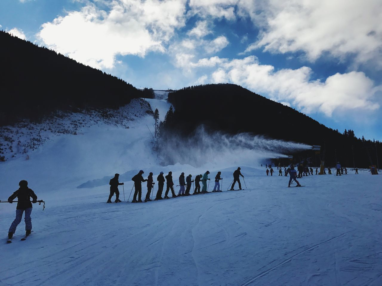 Skiing Bansko Winter Cold Temperature Snow Weather Real People Sky Men Lifestyles Nature Large Group Of People Leisure Activity Cloud - Sky Mountain Outdoors Beauty In Nature Landscape Day Adventure Mammal Snowboarding