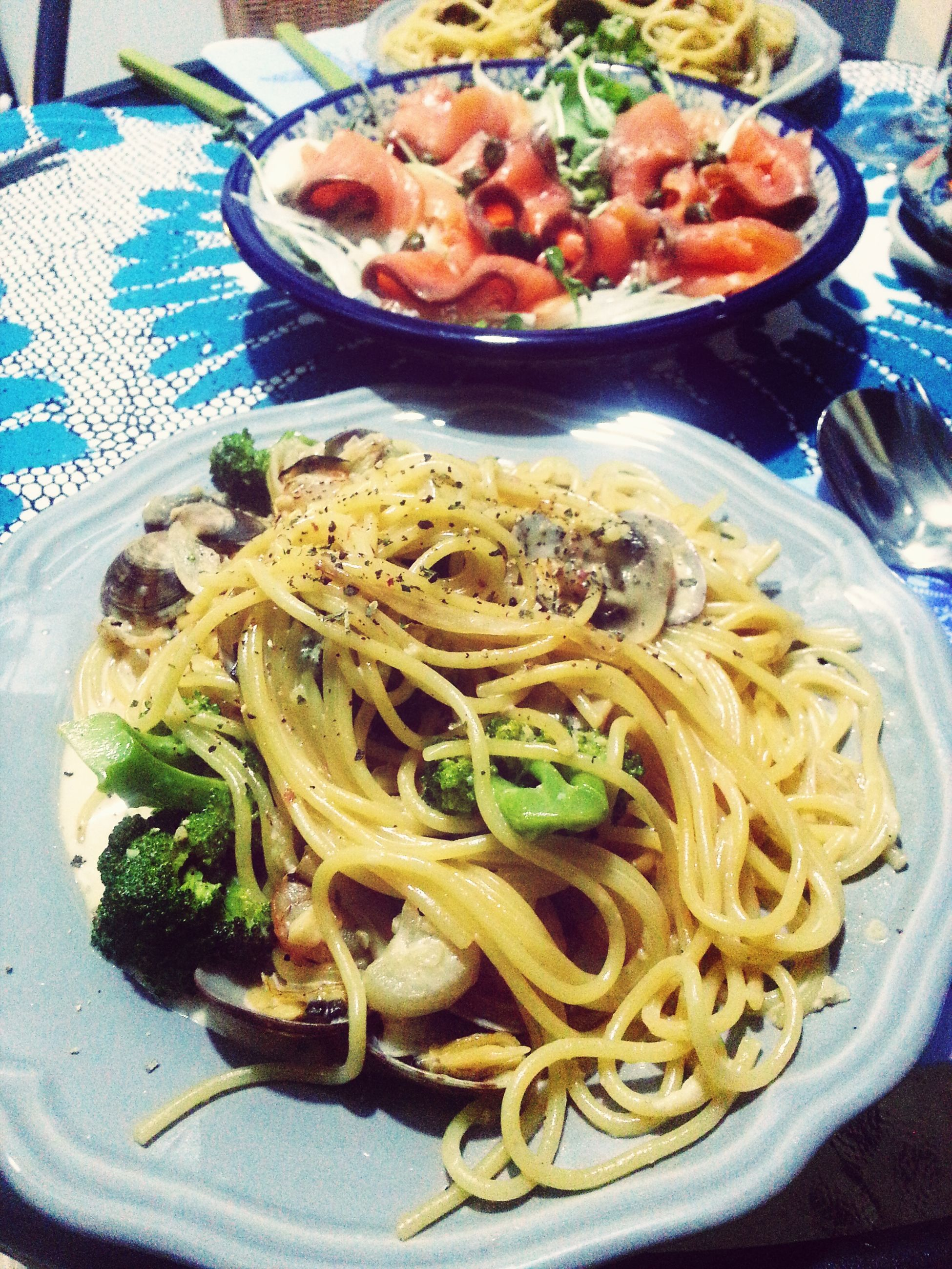 food and drink, food, freshness, ready-to-eat, indoors, plate, healthy eating, still life, serving size, meal, table, high angle view, close-up, bowl, vegetable, indulgence, noodles, served, pasta, meat