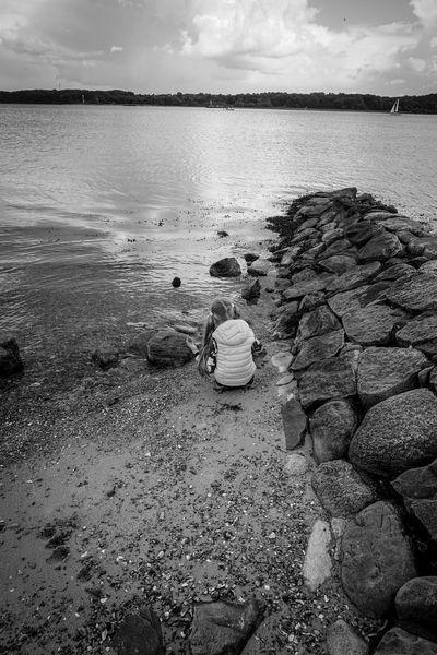 My Daughter Playtime Beach Seaside Sea And Sky Enjoying Life Blackandwhite Black And White Black & White