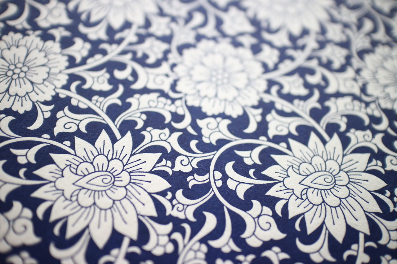 design, floral pattern, art and craft, pattern, creativity, no people, selective focus, indoors, backgrounds, full frame, close-up, day