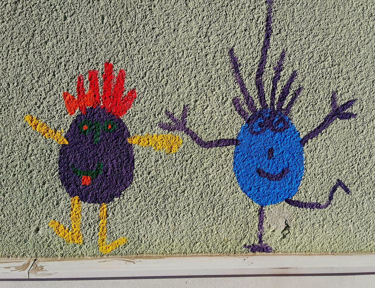 Two funny little guys painted on a wall Multi Colored Art And Craft Creativity No People Full Frame Drawing - Art Product Outdoors Day Variation Close-up Eggs Egg Men Children's Painting Funny Two Two Guys Colors Colorful Wall