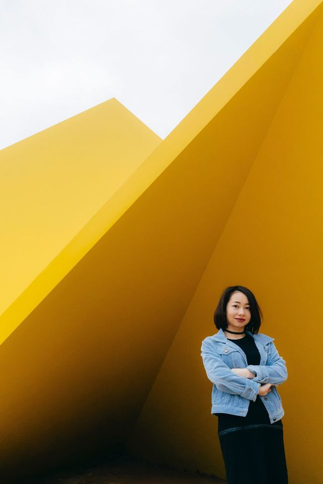 Portrait Portrait Of A Woman Portraiture SonyA7s Sony Australia VSCO MelbournePhotographer Streets Of Melbourne Casual Clothing Yellow Wall - Building Feature Urban Space Architecture
