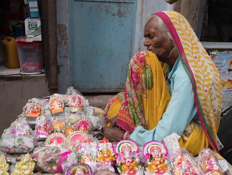 India Cultures Traditional Clothing Religion People Sari Going To Market Bazar