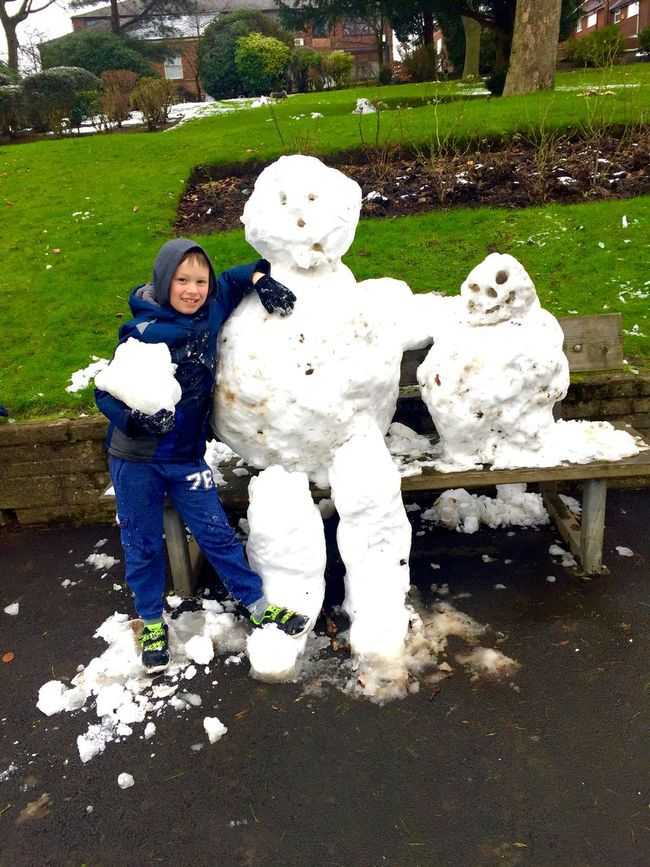 Posing With A Snowman Snowmen Fun Cold Park Snow Childsplay Boy