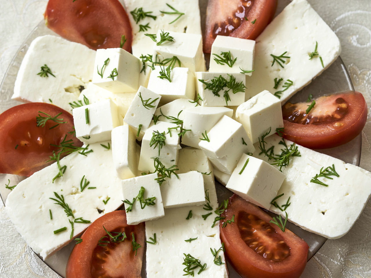 plate of soft cheese (feta and bryndza) with tomatoes Adult Adults Only Annual Event Bryndza Cheese Day Feta Food Freshness Healthy Eating High Angle View Indoors  People Plate Ready-to-eat Soft Tomatoes