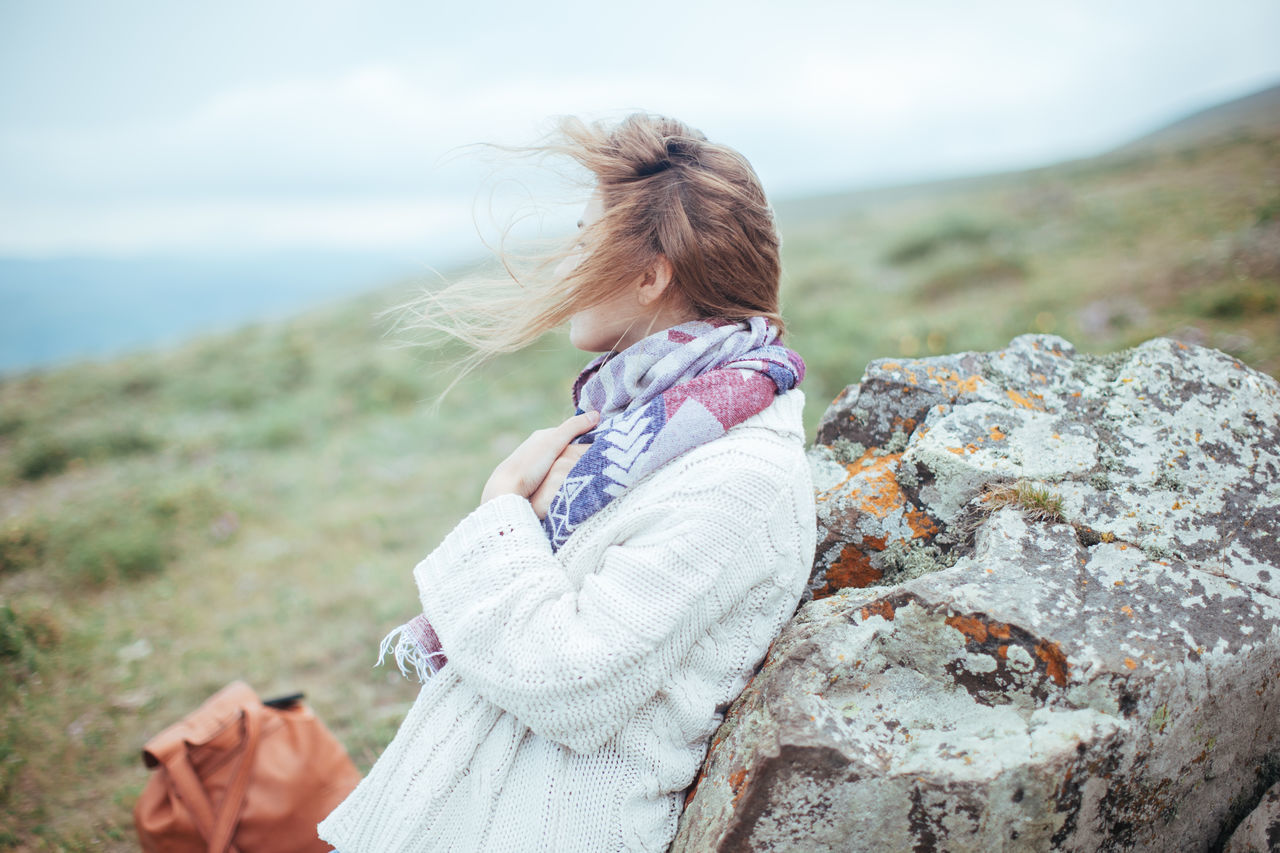 Beach Beautiful Woman Blond Hair Day Female Girl Happiness Nature Observation Observing Scarf Sea Sky Wind Woman