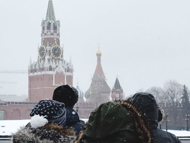 Snowing St Basil's Cathedral Kremlin Winter Admiring The View