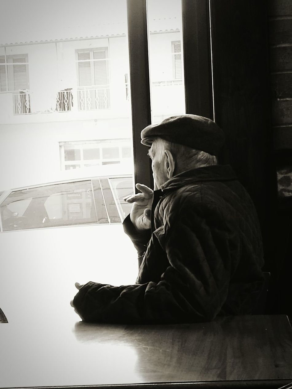 Sitting Side View Only Men Window One Person Reflection Adults Only People One Man Only Wireless Technology Adult Indoors  Day Time To Reflect Time After Time Old Man's Life Old Man Portrait Old Man Sitting