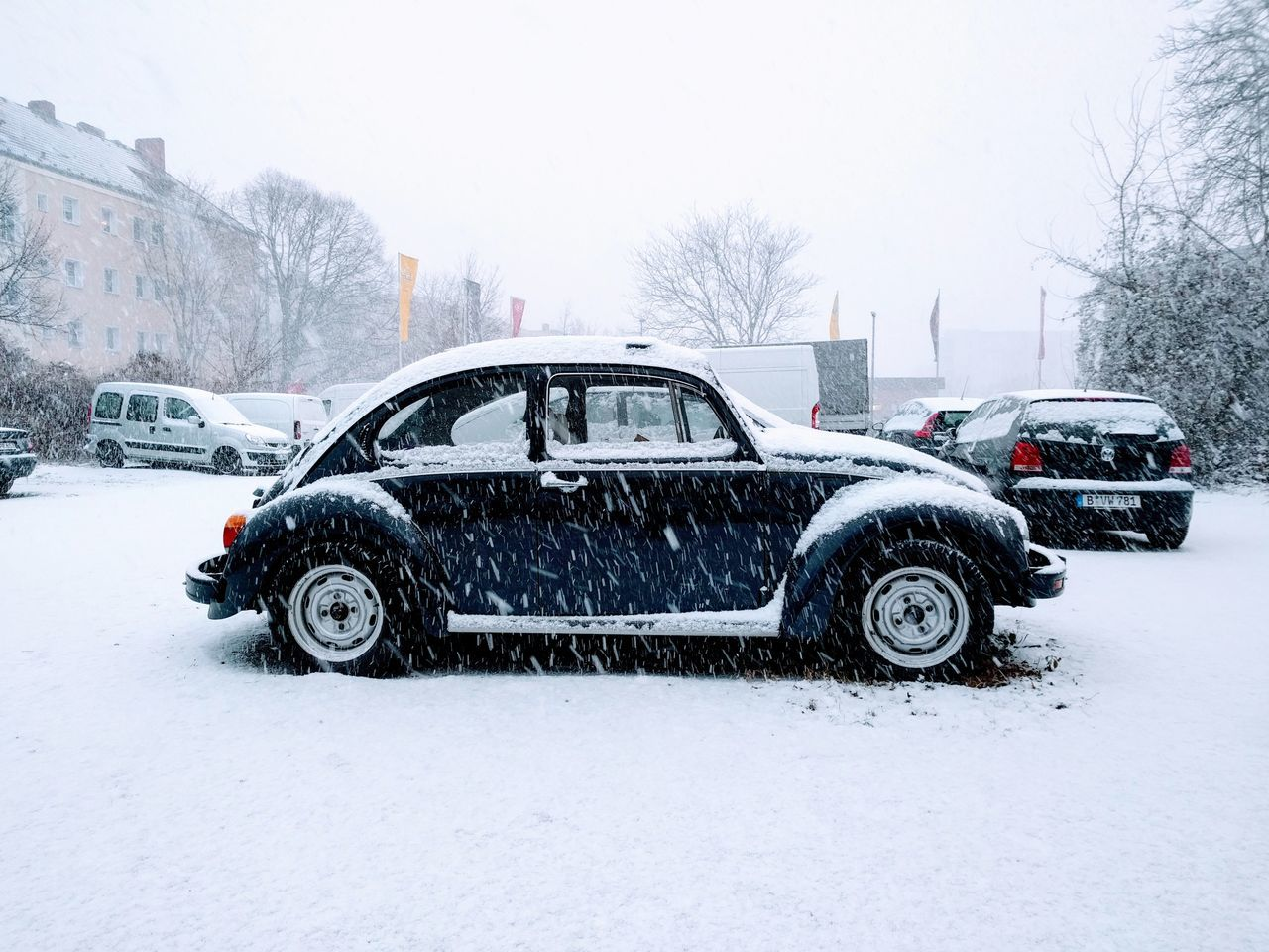 Das Auto  VW Beetle VW Käfer Transportation Wet Mode Of Transport Snow Snowing Winter Tire Driving No People Cold Temperature Slippery Nature Close-up Day VW Car Classic Classic Car Oldtimer Winter Wonderland Berlin First Snow