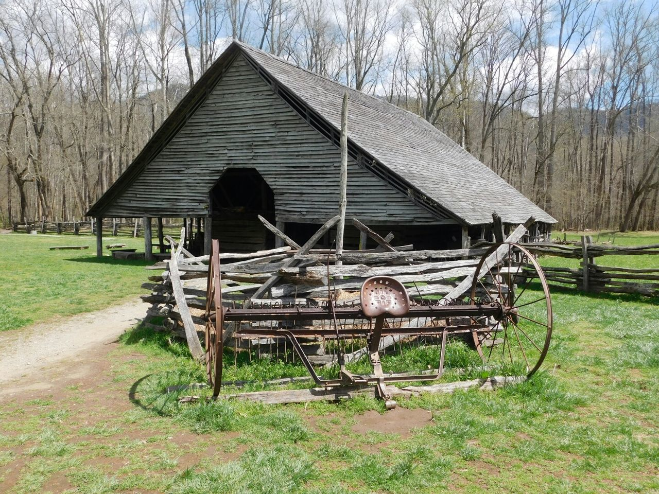 Built Structure Building Exterior Wood - Material Tree Architecture House No People Horse Cart Sky Nature Wagon Wheel Day Agriculture Outdoors Great Smokey Mountain National Park Scenics Landscape Barn No Filter, No Edit, Just Photography