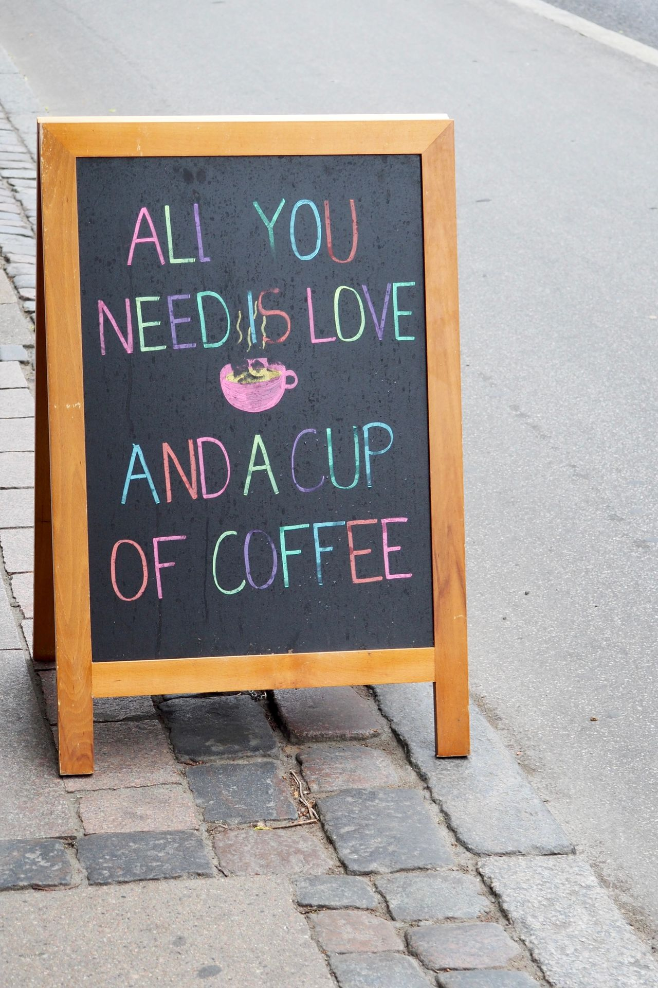 Cafe Christiania Close-up Coffee Communication Cup Day Happieness Hippie Love Message No People Outdoors Rainbow Colors Sidewalk Sign Street Text Travel Vacation Waking Up