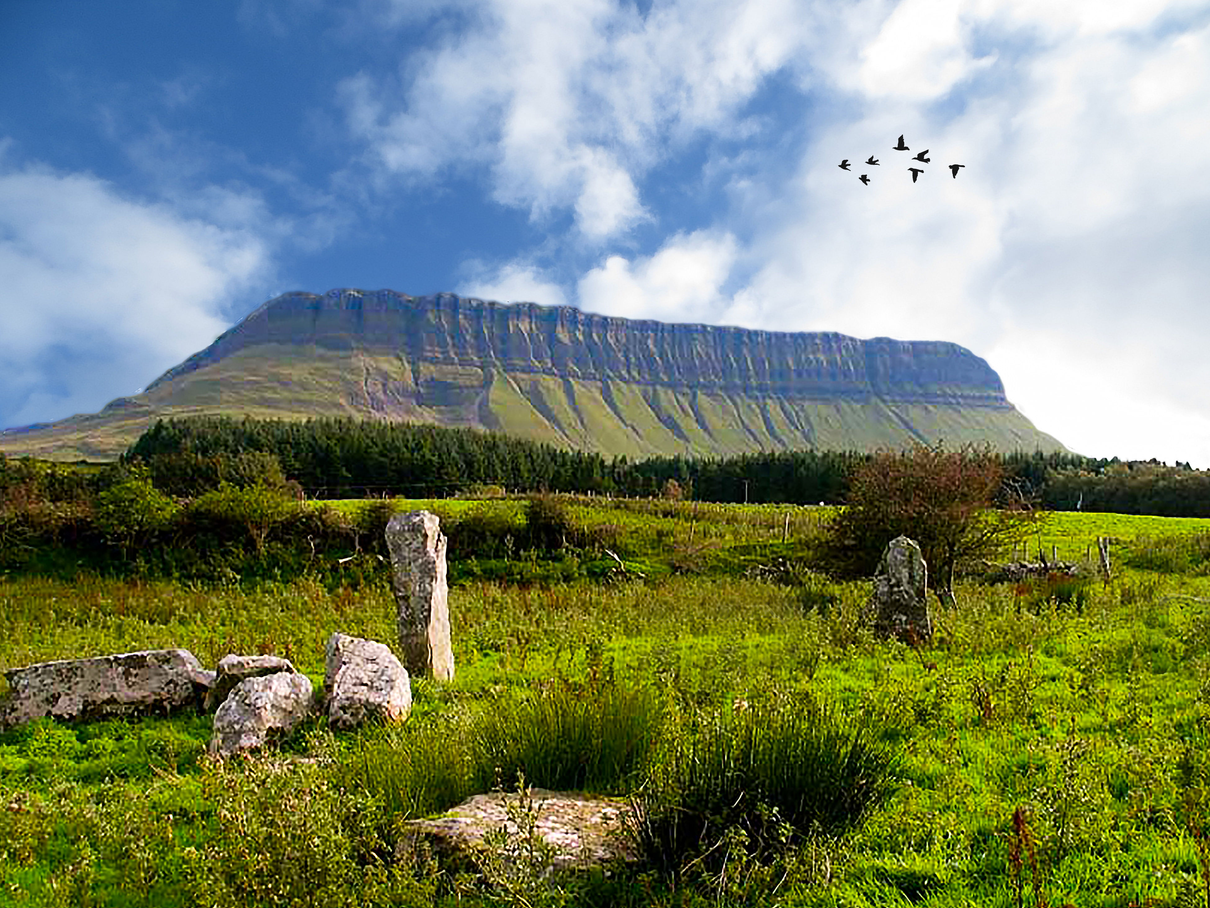 Scenic View Of Benbulben Mountain Against Sky