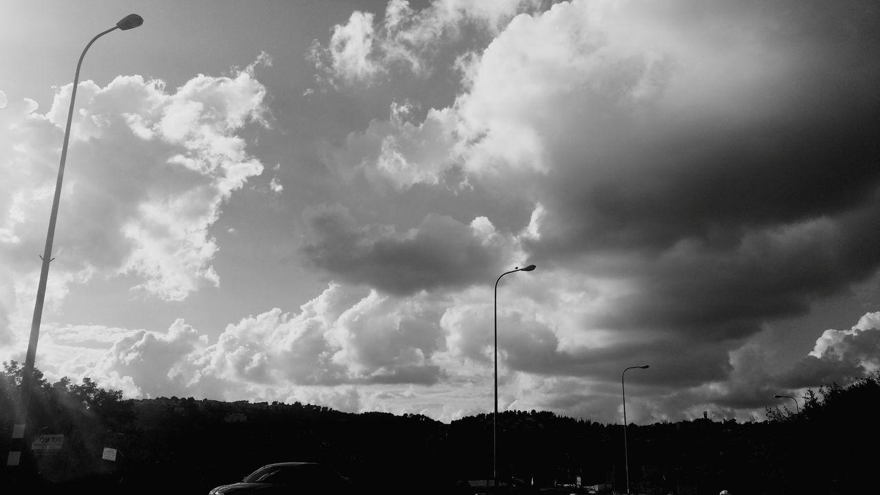 street light, cloud - sky, sky, car, road, outdoors, no people, tree, transportation, day, nature