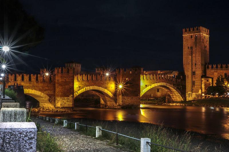 Adige Bridge Castelvecchio Castle City By Night City Of Love Culture Famous Place Italy Romeo And Juliet's City Verona Verona By Night Pontescaligero Castelvecchio in Verona Italy