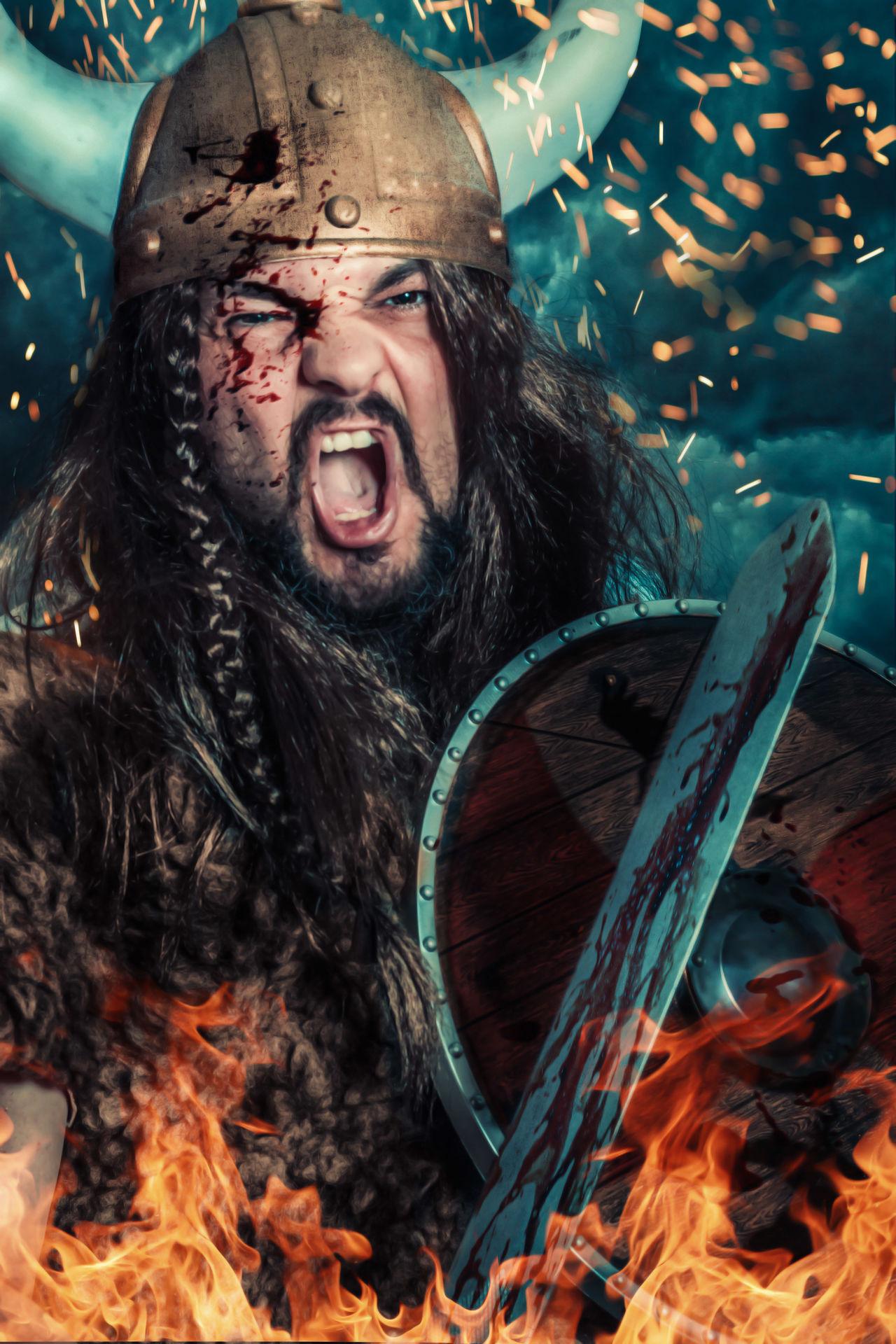 Composing Viking Sword Shield Flames Helmet