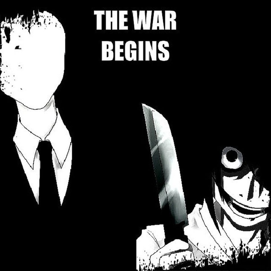 I have my opinion on who would win this fight but let me know what you think. SlenderMan Vs JeffTheKiller MarbleHornets creepypasta fanart imagination anime horror cartoon dark art fight gotosleep