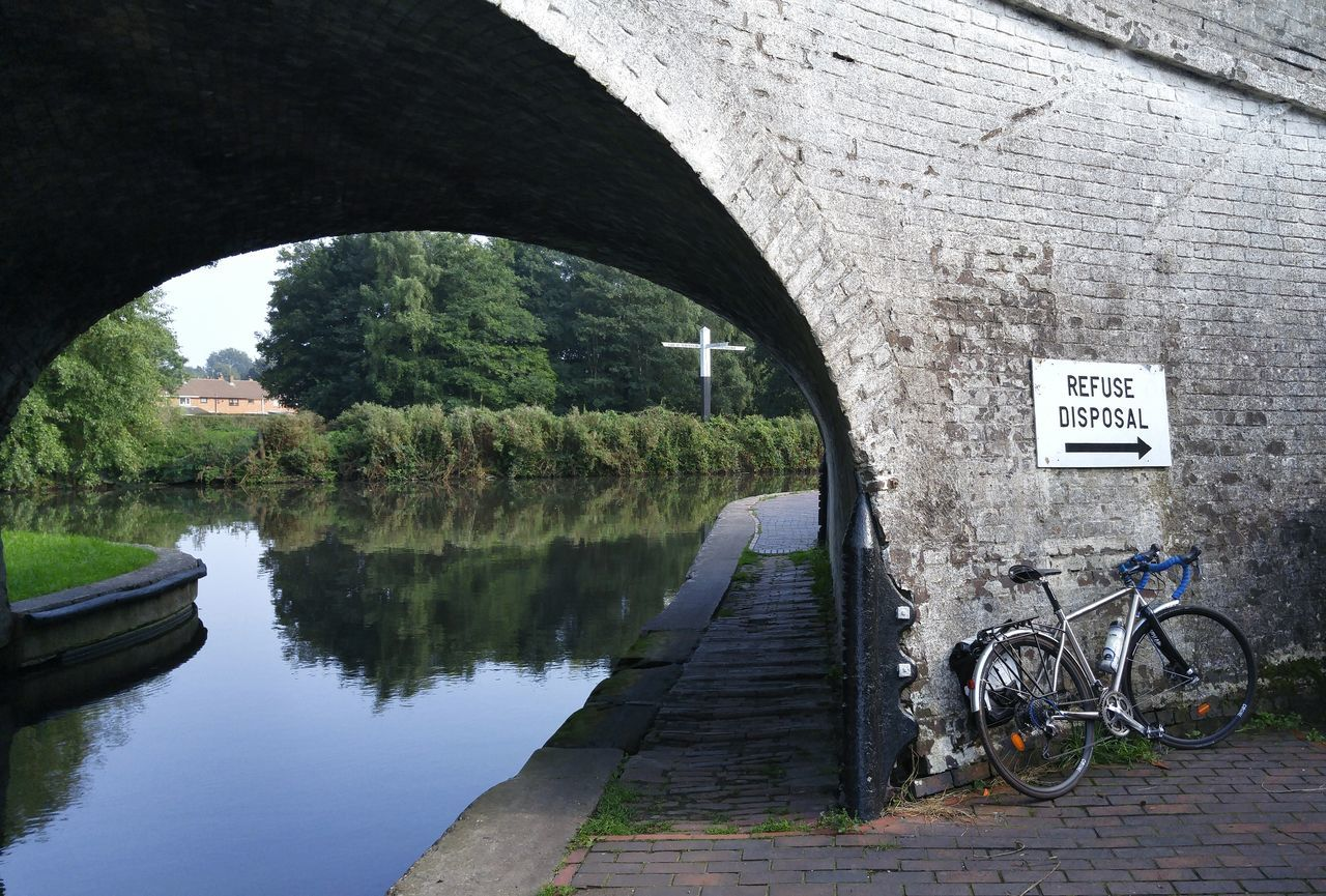 Arch Water Built Structure Tree Connection Architecture Bridge - Man Made Structure Bridge Outdoors Canal Engineering Day Nature Circle Rural Scene Non-urban Scene Journey Arched Archway Bicicleta Bici Bicycle West Midlands Bike Refuse Collector