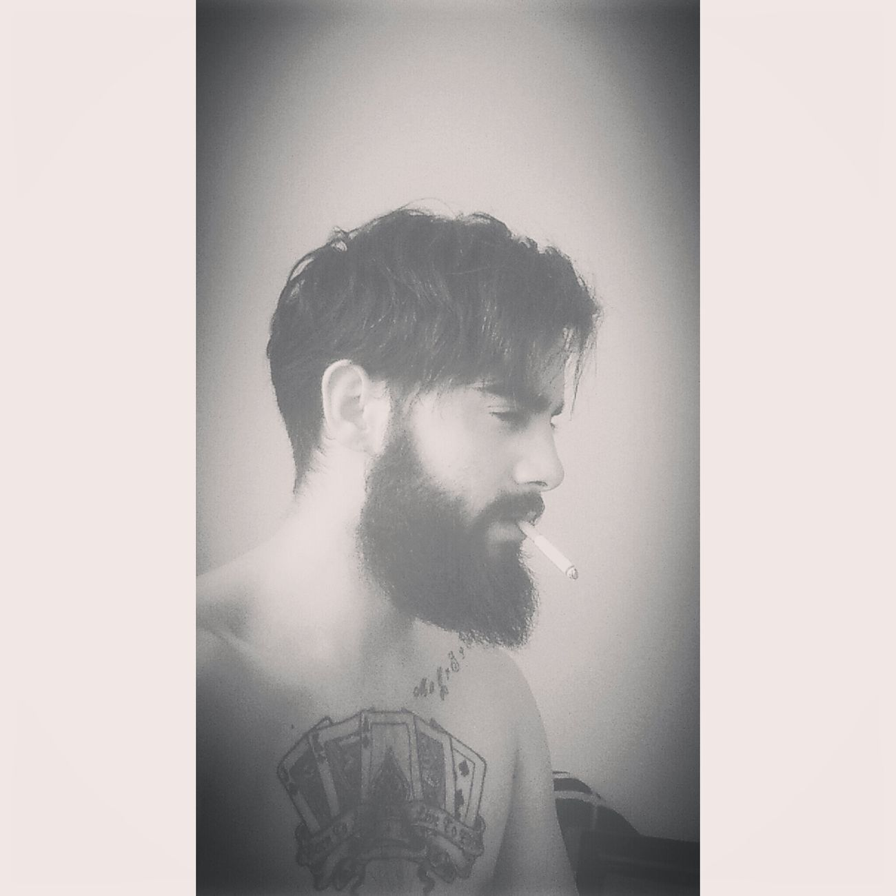 Hello World Tired! Today's Hot Look That's Me Tattoo Model Light And Shadow Taking Photos Beard Good Morning
