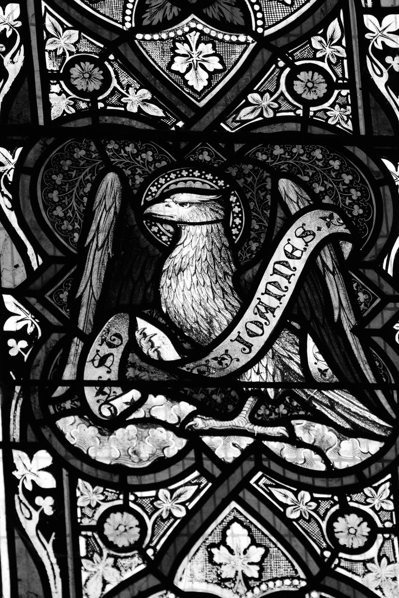 Close-up Indoors  Day Traditon Religion And Beliefs Closeup Black And Grey Blackandwhite Church Stained Glass Window Selective Focus No People