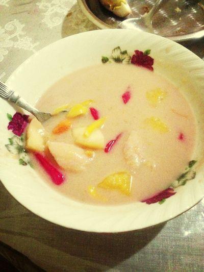 Eat kolak(Indonesia food) Made By My Mom Yummy!