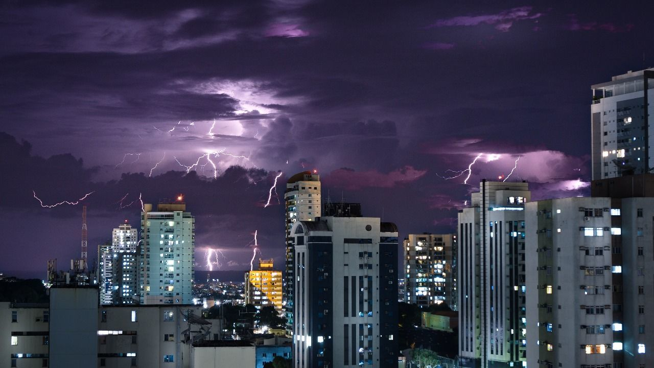 Lightingstrike Skyscraper Cityscape Night City Storm Thunderstorm Power In Nature Downtown District Outdoors Nature