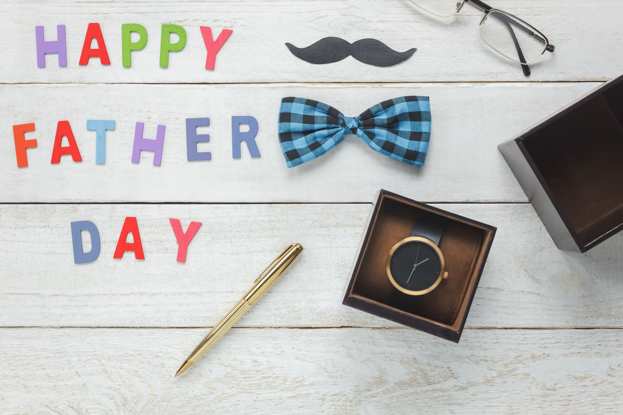 Top view accessories Happy Father's day background. Business Close-up Dad Day Desk Digital Tablet Father Happy Father's Day Indoors  Laptop No People Office Paper Papá Photography Themes Portable Information Device Studio Shot Table Technology Touch Screen Travel Wireless Technology Wood - Material