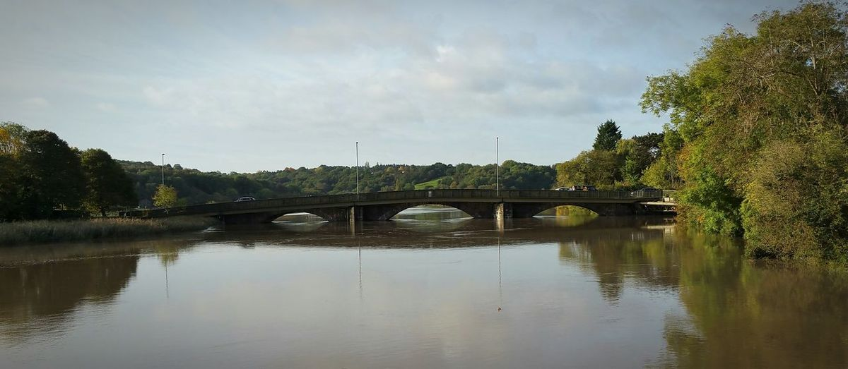 River Usk high tide at Caerleon Ancient Bridge High Tide Flood Stone Bridge Water Level Caerleon Wales