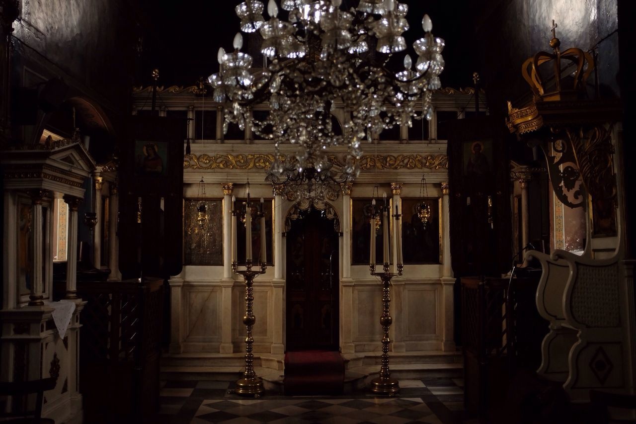 Orthodox Church in Greece Chandelier Indoors  No People Religion Photography Fujifilm The City Light Light And Shadow Fujifilm_xseries Travel Travel Destinations Tourism Indoors  Greece Church Spirituality Darkness And Light Darkness Dark Jesus