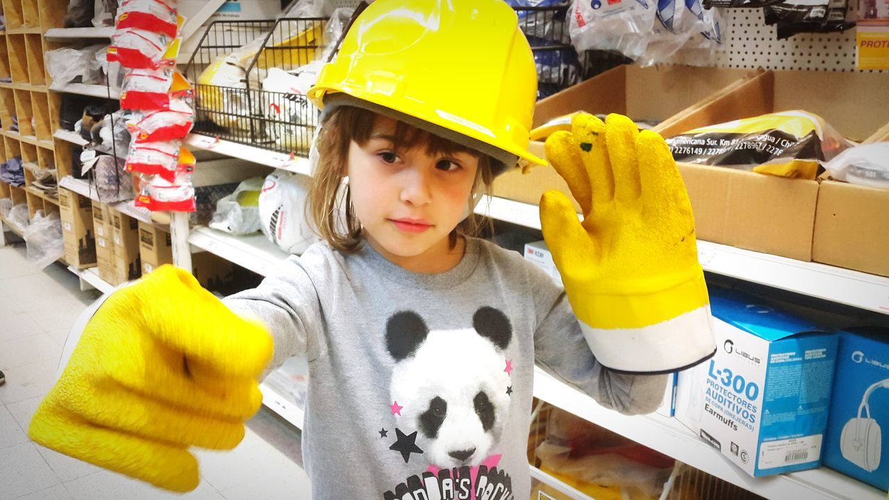 Child Yellow Horizontal People One Person Sweety  Little Girl Industrialbeauty Safetyfirst Kidsportrait Kids Having Fun Kidsphotography Kids Portrait Kids Photography Yellow Gloves Safety First Yellow Hat Safety First! Kids Being Kids Indoors  Kids Indoors  Childhood Children Only Kids Playing