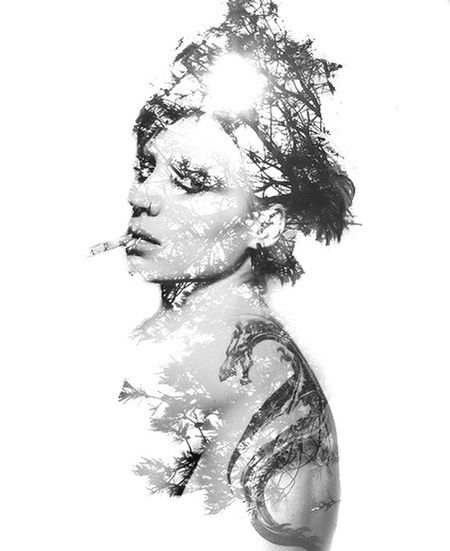 "Fav movie character ""lisbeth Salander""  Doubleexposure Blackandwhite Bw_collection"