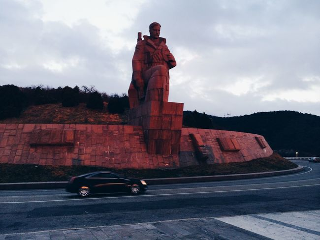 Monuments Beautiful Sun Sunset Car Speed On The Road Road Starting A Trip Trip