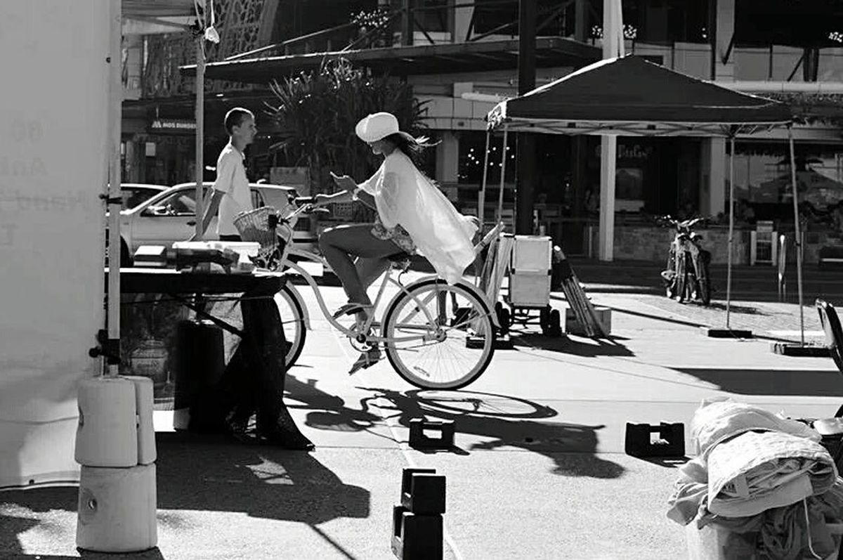 Cyling Cyclist Streetphotography Blackandwhite Photography Woman Australia GoldCoast Beach Photography Beach Girl Mobile Phone