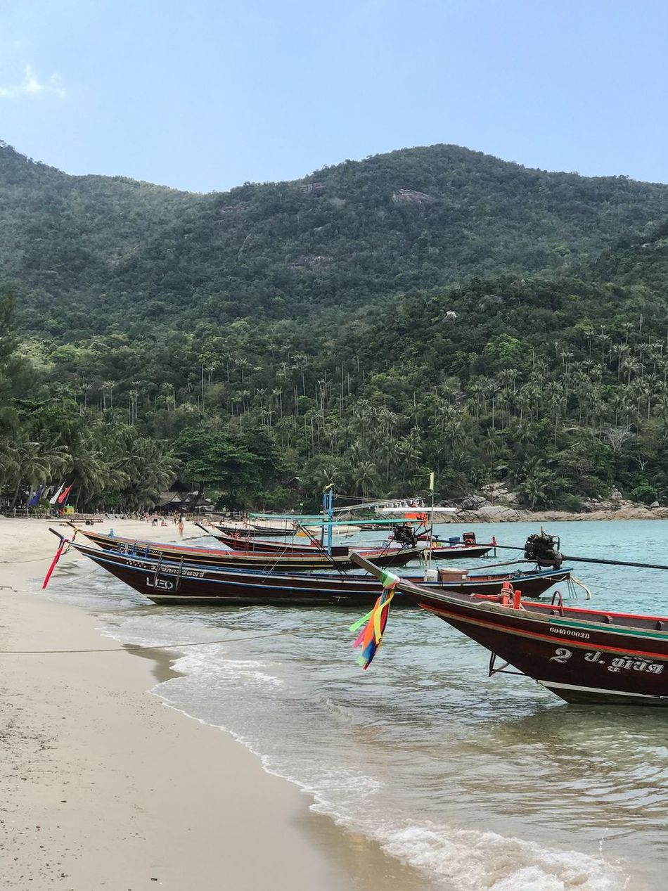 Nautical Vessel Mode Of Transport Transportation Nature Scenics Mountain Boat Moored Beauty In Nature Tranquility Island Palm Trees Outdoors Beach Thailand Leisure Activity Tourism Traveling Travel Destinations Scenic View Vacations Water No People Outrigger