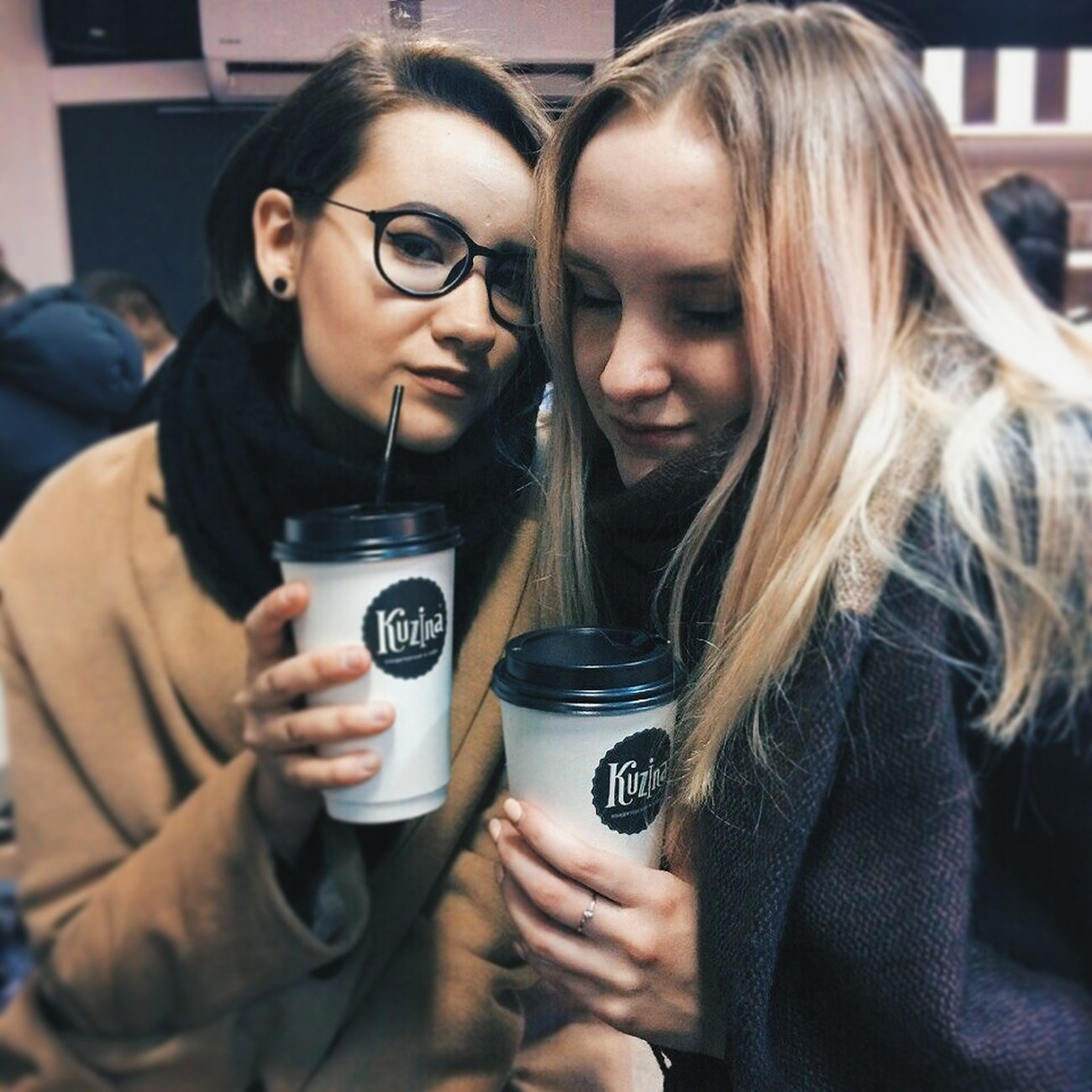 My new inst 💖 follow me💖 instagram.com/viktoria_nikon/ Two People Friendship Beautiful People Women Smiling Instagood Drink Food And Drink Koffe Koffee Blackandwhite Black & White Me Girl Beautiful Woman Russia Siberia Russian Girl First Eyeem Photo Night Real People Spring Blonde Blond Hair Followme