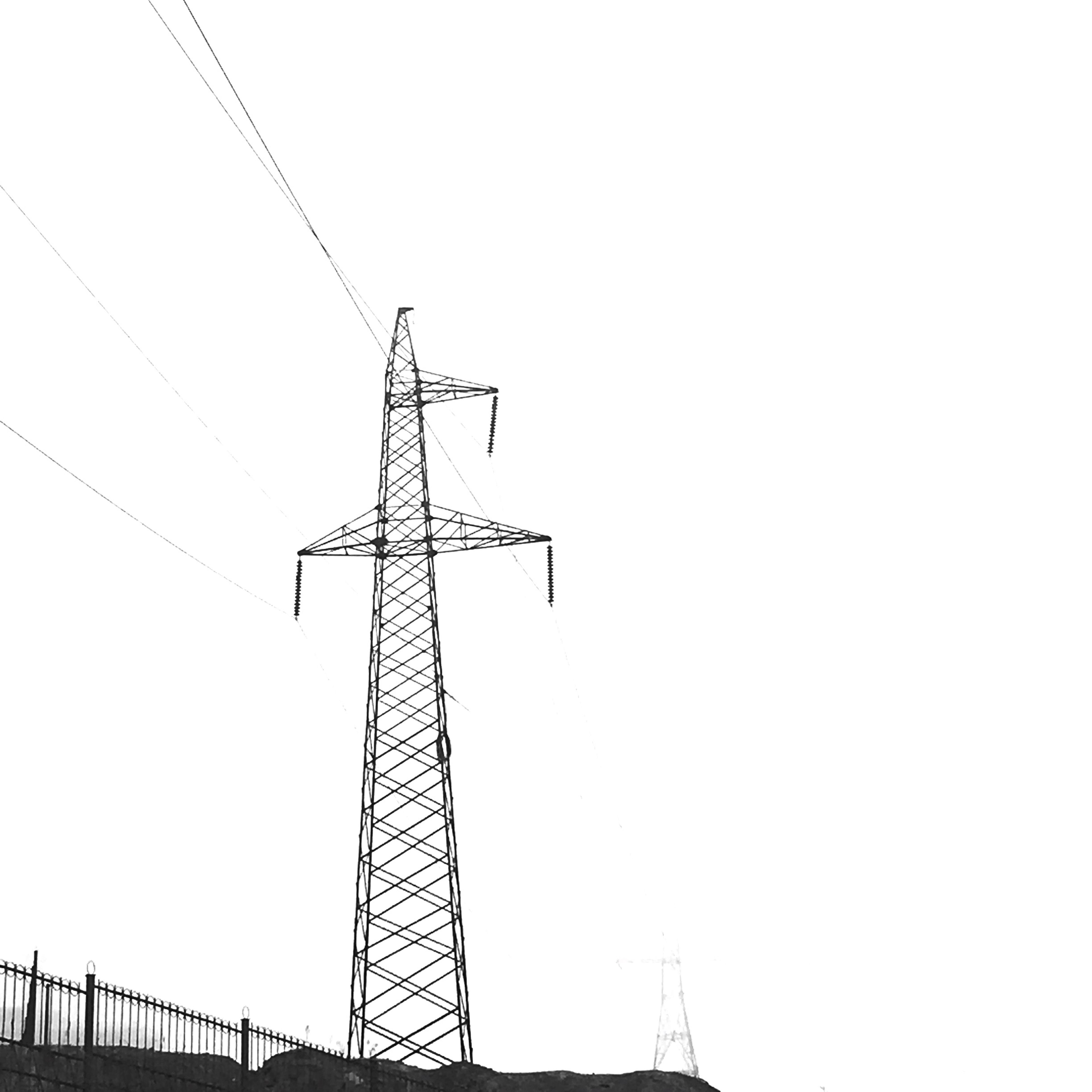 clear sky, low angle view, technology, fuel and power generation, copy space, construction site, built structure, crane - construction machinery, electricity pylon, development, electricity, power line, power supply, connection, architecture, construction, day, outdoors, tall - high, industry