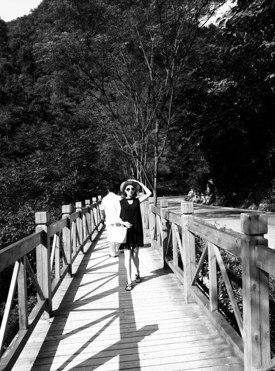 full length, railing, tree, real people, one person, lifestyles, leisure activity, walking, outdoors, day, footbridge, nature, young adult, adult, people