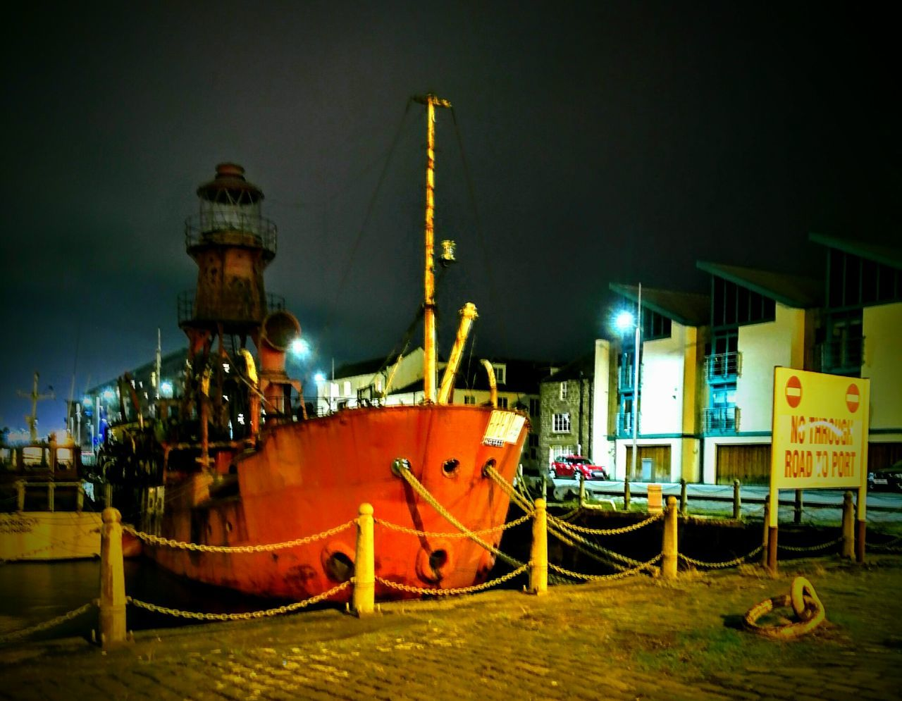 Night Illuminated Outdoors Design Textured  Metal Built Structure Architecture Dundee Mode Of Transport Transportation Development Light House Boat decommissioned