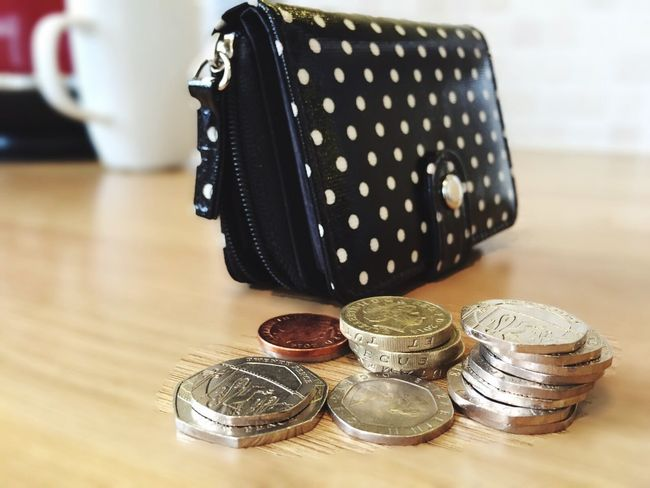 Purse with English money Cash Purse Money Coins Sterling Savings Budget Spend Spending Pay Paying Spare Change Expenditure Expenses Silver