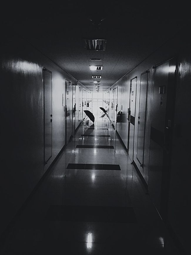 Corridor Dormitory Straight Deserted Iron Door Stone Half Light Darkness And Light Long Hallway Daily Life Go To My Room With Roommates Snapshot Cellphone Photography Iphonephotography
