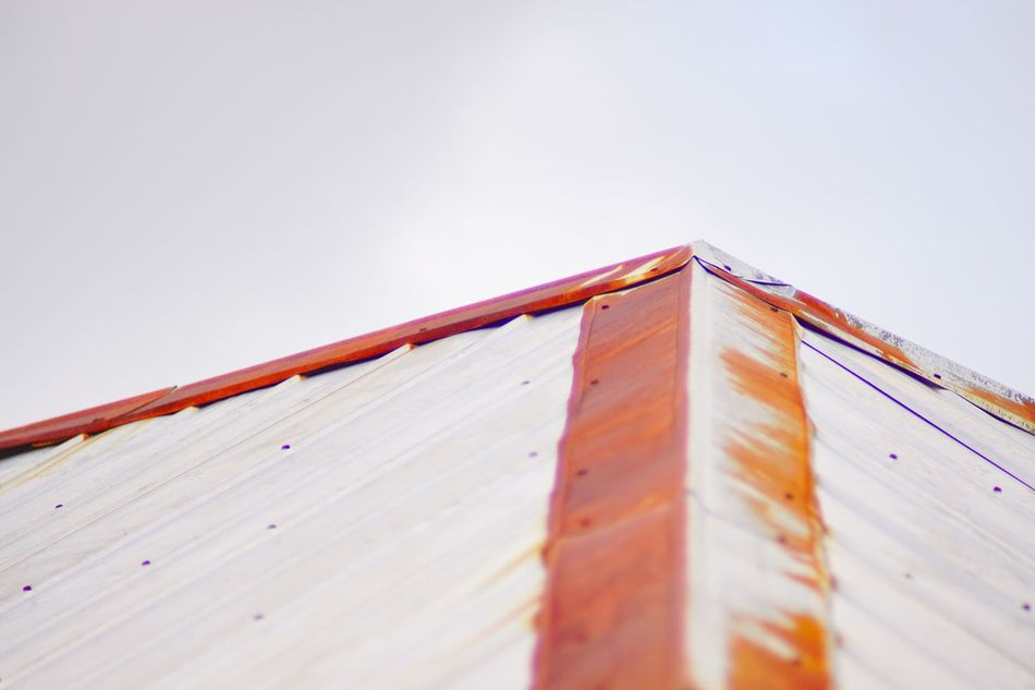 Contrast corners Low Angle View Roof Rooftop Built Structure Construction Architecture Architectural Feature No People Outdoors Clearness Brilliant Red Abandoned Sony A6000