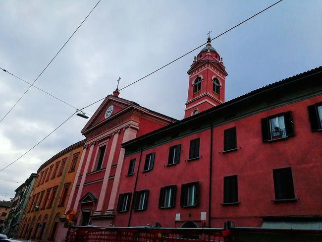 Architecture Bolo Bologna Bologna, Italy Red History Building Exterior Low Angle View Outdoors Clock Tower City Travel Destinations Sky No People Day Clock Pink Color Pinkchurch Church Ig_bologna Architecture_collection Architecturephotography