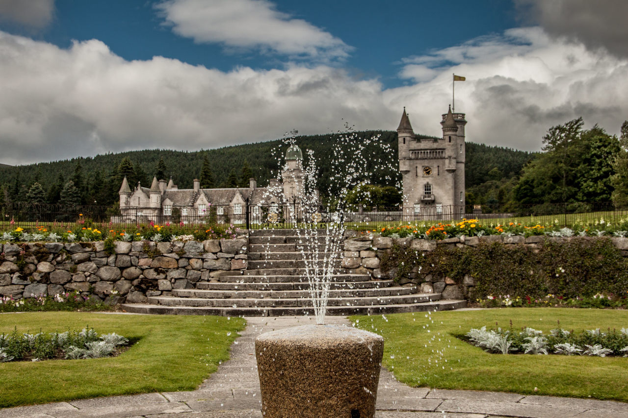 Architecture Balmoral Castle Building Exterior Cairngorms National Park Castle Cloud - Sky Flower Formal Garden Fountain Lawn Scotland Sky Splashing Spraying Stone Material Stone Wall